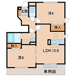 和歌山県橋本市胡麻生の賃貸アパートの間取り