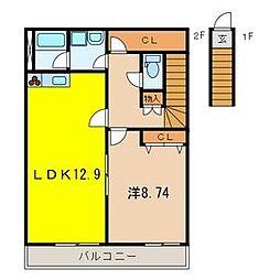 埼玉県上尾市向山3丁目の賃貸アパートの間取り