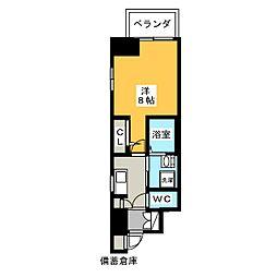エステムコート名古屋今池アーバンゲート 7階1Kの間取り