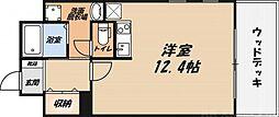 協同レジデンス摂津富田 7階1Kの間取り