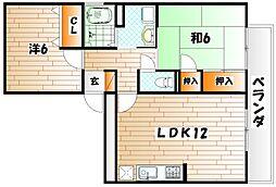 グレイス稲光B棟[1階]の間取り