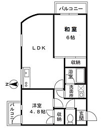 神奈川県川崎市高津区久地2丁目の賃貸アパートの間取り