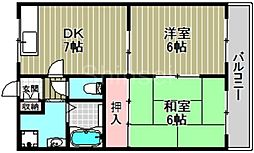 大阪府堺市北区百舌鳥赤畑町4丁の賃貸マンションの間取り