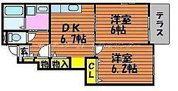 JR山陽本線 岡山駅 バス30分 牟佐上下車 徒歩7分の賃貸アパート 1階2DKの間取り
