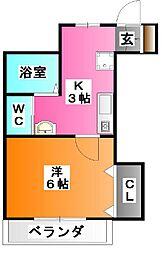 東京都北区滝野川1の賃貸アパートの間取り