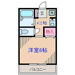 神奈川県横浜市神奈川区入江2丁目の賃貸アパートの間取り