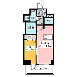 メイクスデザイン名駅南 2階1DKの間取り