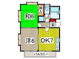 グレースティアラ 2階2DKの間取り