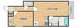 阪神本線 深江駅 徒歩7分の賃貸アパート 1階1LDKの間取り