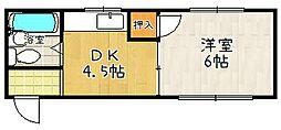 ベルエール桃山A[302号室]の間取り
