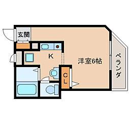 奈良県生駒市本町の賃貸マンションの間取り