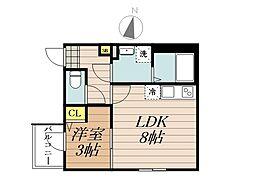 JR埼京線 与野本町駅 徒歩13分の賃貸アパート 1階1LDKの間取り