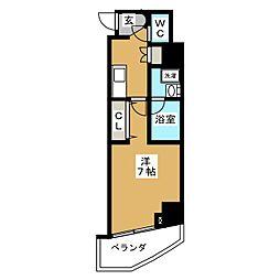 ZOOM横浜関内 9階1Kの間取り