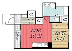 千葉県市原市西五所の賃貸アパートの間取り