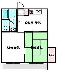 Osaka Metro谷町線 守口駅 徒歩15分の賃貸マンション 2階2LDKの間取り