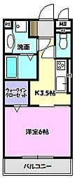 茨城県守谷市中央4丁目の賃貸アパートの間取り