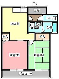 サニーリバーサイド[2階]の間取り