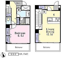 ルポン・デスポワール 9階1LDKの間取り