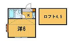 神奈川県横浜市港北区菊名3の賃貸アパートの間取り