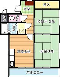 シャトレ穴生II[3階]の間取り