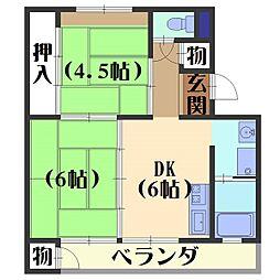 日電京都ハウス[408号室]の間取り