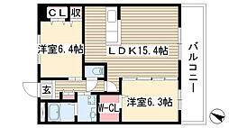 愛知県日進市竹の山5丁目の賃貸マンションの間取り