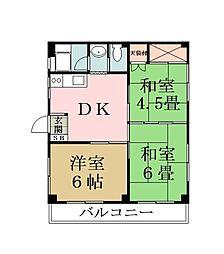 埼玉県草加市新善町の賃貸マンションの間取り
