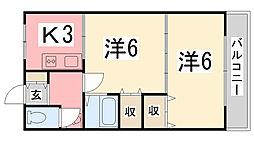 ワンリバーマンション[203号室]の間取り