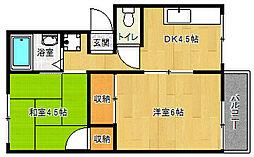 京都府京都市西京区川島滑樋町の賃貸アパートの間取り