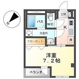 広島電鉄1系統 広大附属学校前駅 徒歩2分の賃貸マンション 3階1Kの間取り