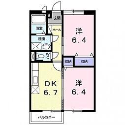 クレ・ドミール2[201号室号室]の間取り