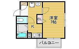 大阪府大阪市阿倍野区美章園2丁目の賃貸アパートの間取り