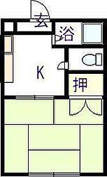 佐賀県唐津市熊原の賃貸アパートの間取り