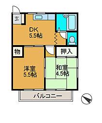 ハイツフジ1[2階]の間取り