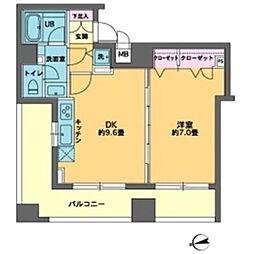 東京メトロ有楽町線 新富町駅 徒歩2分の賃貸マンション 11階1DKの間取り