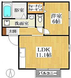 茨城県龍ケ崎市佐貫町の賃貸アパートの間取り