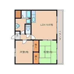 奈良県天理市富堂町の賃貸マンションの間取り