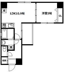 メルヴェーユ新宿[4階]の間取り