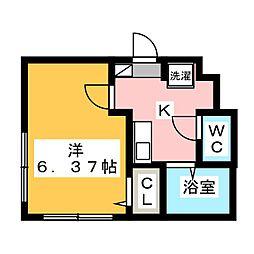 与野本町プラザB 4階1Kの間取り