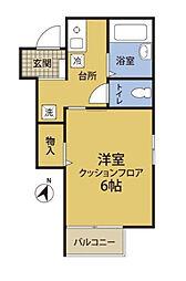 神奈川県横浜市磯子区森6の賃貸アパートの間取り