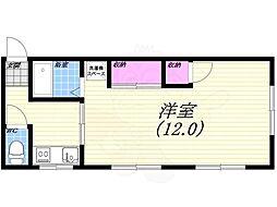 阪急甲陽線 苦楽園口駅 徒歩13分の賃貸アパート 1階1Kの間取り