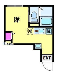 JR総武線 東中野駅 徒歩11分の賃貸アパート 2階ワンルームの間取り