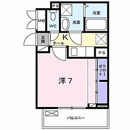 JR中央本線 豊田駅 徒歩13分の賃貸アパート 1階1Kの間取り