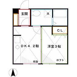 JR中央本線 三鷹駅 徒歩7分の賃貸アパート 2階1DKの間取り
