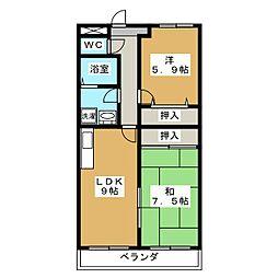 シェーヌ吉祥院[2階]の間取り