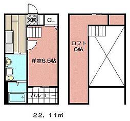 レオーネ西小倉[202号室]の間取り