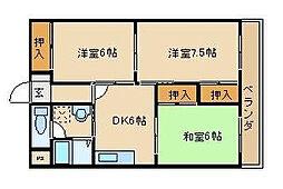 エステートピア吉田[1階]の間取り