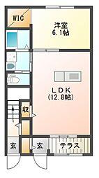エーバント 1階1LDKの間取り