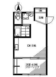 東京都中野区上高田3丁目の賃貸アパートの間取り