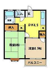 埼玉県さいたま市中央区鈴谷7丁目の賃貸アパートの間取り